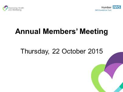 Come along to our Annual Members' Meeting (AMM)