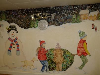Patients at Newbridges' create Christmas mural